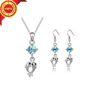 The Novelty Dolphins Design Crystal Pendant Necklace Fashion Jewelry Sets for Women with Gifts Box Free Shipping