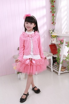 New arrival fashion children girls set kids suit 2013 auutmn 3 pcs flower pearls lace jacket + t shirt + chiffon bow skirt 4sets