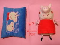 Action figure peppa pig plush doll & pillow 2 in 1 reversible can change Plush Toy For Kids 20pcs