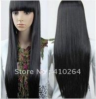 NEW Imitate human bangs New Charming long black hair straight Wig 32inch