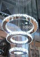 Free Shipping Hot Sell Modern Crystal Lamp with LED Lights Energy Saving Lamp Staircase chandelier (3-Ring)