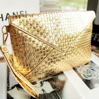 New 2014 Good quality women clutch fashion gold small women leather handbag fashion plaid bags envelope bag