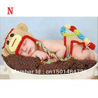Hot Sale 2014 Baby Wear Monkey King Animal Clothing Photo Prop Knit Crochet Toddler Baby Kids Costume  Hat Cap Free Shipping