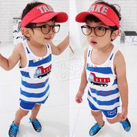 Free shipping 2013 summer boys clothing girls clothing baby child vest shorts set tz-0595