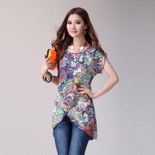 Mm chiffon shirt vintage bohemia chiffon shirt loose plus size xxxl short-sleeve chiffon shirt t-shirt