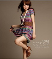 Free shipping!!! 2013  O-neck Rainbow Striped  Patchwork Bohemian Beach Mini Dress For  Fashion Woman  #5302  Gift Belt