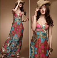 2013 New Women Bohenmia Pleated Wave Lace Strap Princess Chiffon Maxi long dress Hot Sell FREE SHIPPING 118563