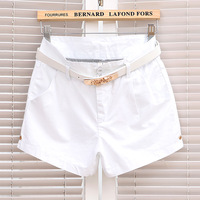 134 - 2345 2013 female casual solid color double pocket denim shorts rose belt