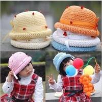 Child strawhat flower bow baby bucket hats female child paper prepared strawhat sun-shading hat summer
