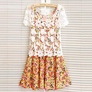 114063 2013 women's sweet crochet shirt fancy slim one-piece dress twinset