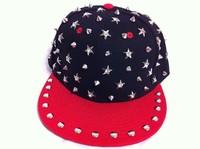 free shipping 2013 top  fashion star rivets Man Women Spike Studs Rivet baseball Cap Punk Rock Hiphop hats for men  red&black