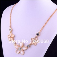 FREE SHIPPING Drop Shipping pink Flower White 14K Real Yellow Gold Plated Fashion Party Bridal Necklace Jewelry Chain For women