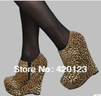 European platform ankle boots leopard print wedge shoes boots Free shipping
