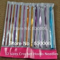 Multicolor 12 Sizes Aluminum Crochet Hooks Needles Knit Weave Stitches Knitting /Latch /Bearded Needle Craft tool Set