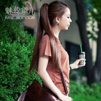 Wire wig female horseshoers straight hair thickening bulkness dull horseshoers medium-long girls