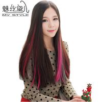 Wire wig multicolour hair piece one piece hair piece gradient multicolour wig piece straight hair
