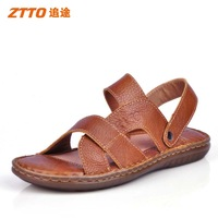 New arrival ztto genuine leather beach sandals handmade sewing cow muscle taojian outsole dual cattle leather sandals
