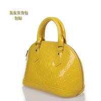 2013 women's genuine leather handbag japanned leather patent leather ladies bag handbag messenger bag candy color shell bag