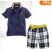 Wholesale 6sets/lot summer p** set children 2pcs boys dark bluet shirt+plaid shorts kids suits
