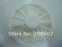 Freeshipping Nail Art Nail Decoration Glitter Sticker/Decal Semicircle Pearl Imitation Pearl 10Wheel/Lot Wholesale