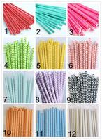 Promotion! 12 Colors Chevron Design Paper Straws, Paper Drinking Straws, Party Supplies, Wedding Decor, 50pcs/lot