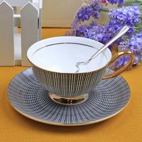 Coffee cup set fashion black tea cup green tea cup vintage fashion tea cup spoon