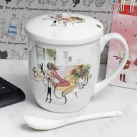 Girls cartoon mug coffee cup glass lid fashion cup lid aesthetic cartoons bone china cup