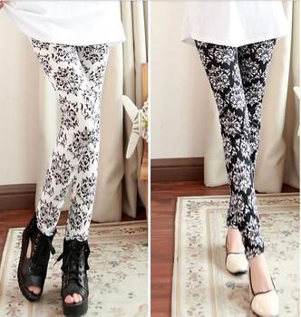 Autumn Ladies' Super-Elastic Phoenix Totem Chinese Porcelain Fashion Charm Painting Style Printing Slim Women Leggings Pants