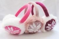faux fur earmuff knit snowflake ear warmer winter ear muffs