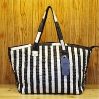 2013 women's fashion genuine leather handbag fashionable casual black and white stripe patchwork bag one shoulder cross-body