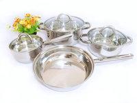 Stainless steel wok soup pot milk pot fry pan cooking pots and pans set piece set