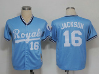 MLB  Royals   Bo Jackson #16 Light Blue Cool Base  Baseball Jerseys Authentic On Field Jersey Free Shipping