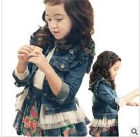 Children's clothing wholesale girls fashion jeans jacket long sleeve coat children's spring autumn clothing free shipping