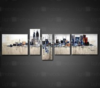 Hand-painted Framed Abstract Oil Painting On Canvas  - Set of 5  #00257751 home decor