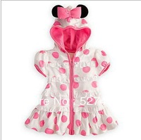 Hot Sale Baby 2013 Summer Minnie Mouse Outfit Dresses Girl Hooded Pink Polka Dot Baby Dress Children's Wear, Free Shipping!