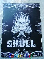 "SKULL Tattoo Flash Designs Book Sketch 11""x 8""  Death Skulls Art Flower 76 pages Free Shipping"