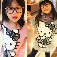 Children's clothing Hello kitty cat printed styles long sleeves T-shirt pattern fleeces 2 colors free shipping