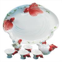 Red carp ceramic kung fu tea set bone china tea set porcelain enamel kung fu tea teaberries set