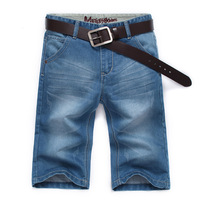 2013 summer thin male denim shorts male straight slim denim capris 989-a  free shipping