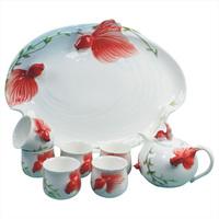 Red carp porcelain enamel tea set bone china tea set ceramic kung fu tea teaberries set