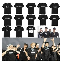 free shipping men  women  summer dance  EXO xoxo wolf 88 name  cotton  tee  t shirt black