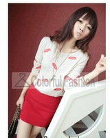 Slim Mouth Print Round Neck Long Sleeve Knitted Pullover Women Sweaters