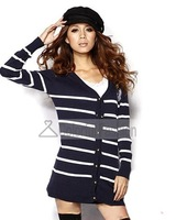 Navy Wind Strip Knit V Neck Long Sleeves Cardigan Women Sweaters