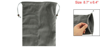 "Gray Drawstring Velvet Sleeve Bag Case for 7"" Android Tablet PC MID Kindle Fire"