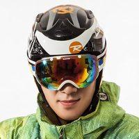 Skiing mirror double layer antimist male big spherical ski windproof 2 lens eyewear 2 headband