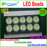 Retail 10pcs/lot 20W Bridgelux LED Chip SMD Beads High Power LED Light Source Warm/Pure/Cold White,2400-2600Lm, 700mA,2800-6000K
