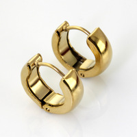 Wholesale\Retail! 14mm 2.5g Popular Charm Gold Plated Stainless Steel Round Hoop Fashion Earring, Lowest Price Best Quality