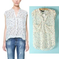Free shipping 2013 fashion loose elegant large pocket multicolour polka dot stand collar short-sleeve shirt