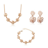 Yiwu accessories sparkling production factory crystal rose zircon stud earring necklace bracelet three pieces set