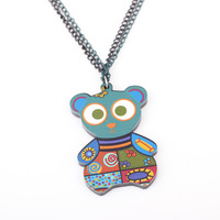 2pcs/lot wholesale 2013 new fashion women necklace for lady bear Animal acrylic bear pendant necklace